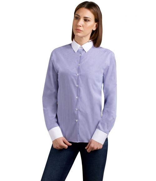 Camicia Kate, in puro cotone rigato con collo e polsi bianchi. Ingram Donna