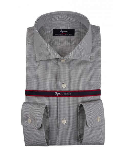 Camicia Ingram da uomo, slim fit in cotone micro check| Last Chance